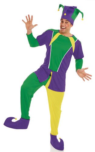 Carnival Jester Mens Fancy Dress Circus Clown Funny Adults Costume Outfit New