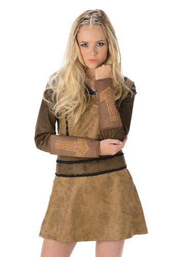Barbarian Girl Ladies Fancy Dress Medieval Viking Warrior Womens Adults Costume