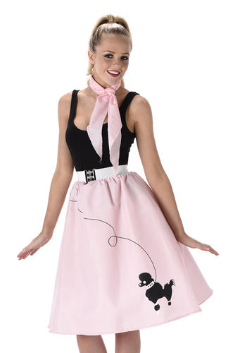 Baby Pink Poodle Skirt Costume Donna 50s 60s Rock /& Roll Costume da Donna Nuovo