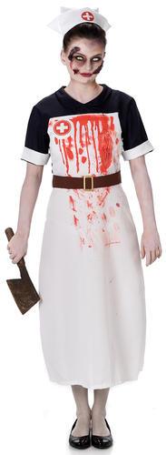Zombie Nurse Ladies Fancy Dress Halloween Undead Gory Womens Adults Costume New