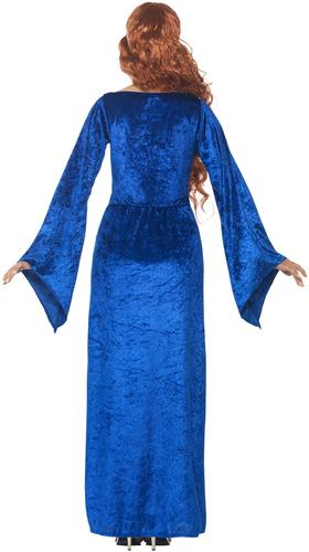 Blue Medieval Maid Ladies Fancy Dress Princess Adults Marian Costume Outfit New
