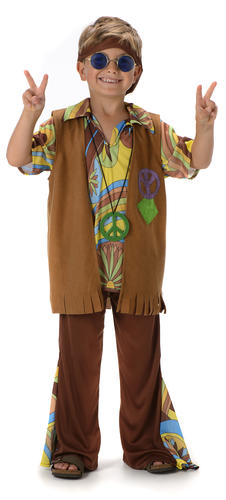boys hippie fancy dress 1960s 70s groovy childs childrens