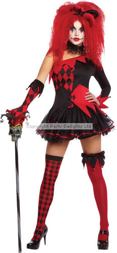 Harlequin Jester Ladies Fancy Dress Halloween Horror Circus Clown Costume Outfit