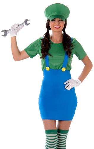 Super-Mario-Luigi-Plumber-Ladies-Fancy-Dress-80s-  sc 1 st  eBay & Super Mario Luigi Plumber Ladies Fancy Dress 80s Video Game Womens ...