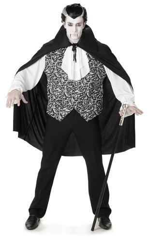 Royal Vampire Fangs Mens Fancy Dress Spooky Dracula Adults Halloween Costume