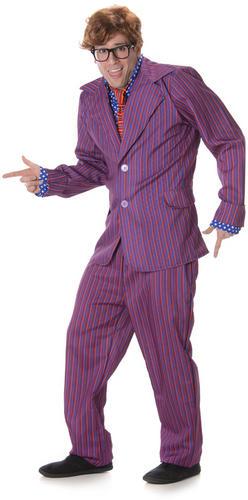 Wig /& Glasses Mens Austin Powers Fancy Dress 1960s Adults Costume Secret Agent