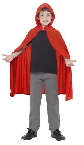 Hooded Red Cape Cloak Kids Fancy Dress Book Day Boys Girls Halloween Costume