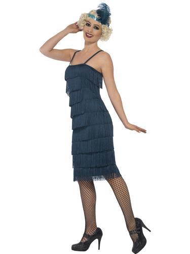 Teal Flapper Ladies Fancy Dress 1920s 20s Jazz Charleston Womens Adults Costume