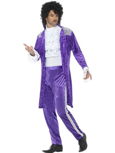 80/'s Purple Musician Mens Fancy Dress Pop Icon Celebrity Prince Adults Costume