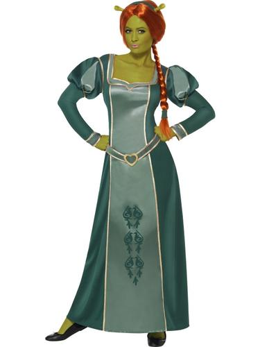 Princess-Fiona-Wig-Ogre-Shrek-Ladies-Fancy-Dress-Halloween-Womens-Costume-New