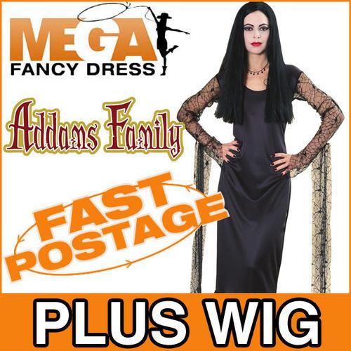 Morticia-Adams-Addams-Family-Halloween-Fancy-Dress-Ladies-Costume-Black-Wig
