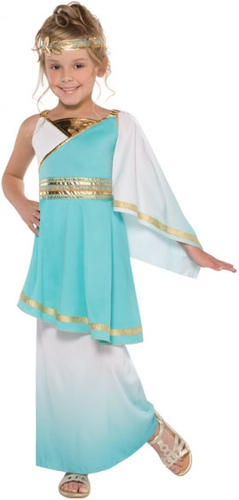 Ancient Roman Girls Fancy Dress Historical Grecian Greek Goddess Kids Costumes