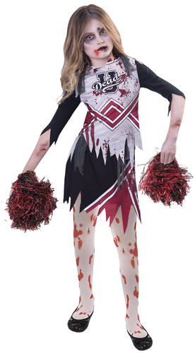 Tights Girls Fancy Dress Halloween Childrens Costume Undead Zombie Cheerleader