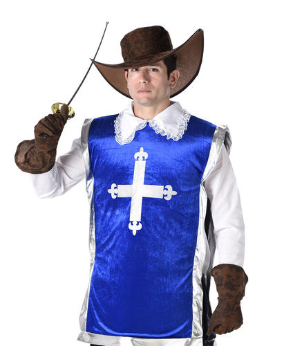 Medieval Musketeer Mens Fancy Dress French Story Book Week Adult Costume Outfit