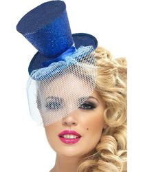 View Item Ladies Fever Blue Mini Top Hat Fancy Dress Accessory