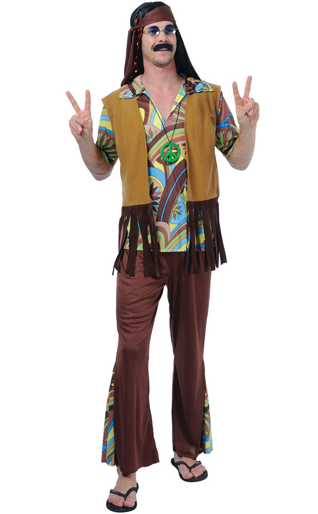 Mens-Groovy-Hippy-Flares-Top-Outfit-60s-70s-  sc 1 st  eBay & Mens Groovy Hippy Flares + Top Outfit 60s-70s Fancy Dress Hippie ...