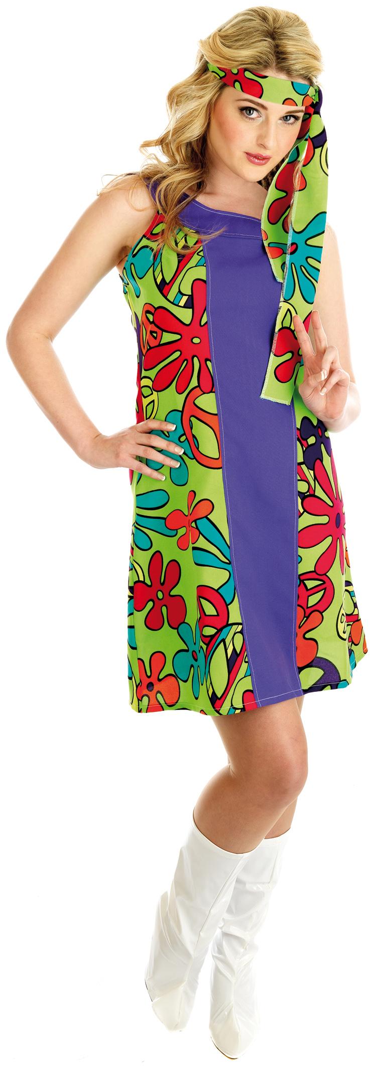 UV Purple Hippie Dress Ladies Hippy Fancy Dress 60s 70s Costume Outfit UK 6-22 | eBay