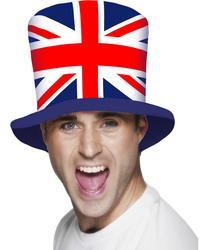 View Item Union Jack Flag Top Hat Fancy Dress Costume Accessory
