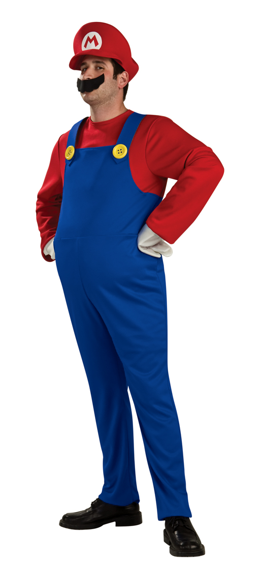 Deluxe Super Mario Luigi Bros Mens Boys Fancy Dress 1980s Costume