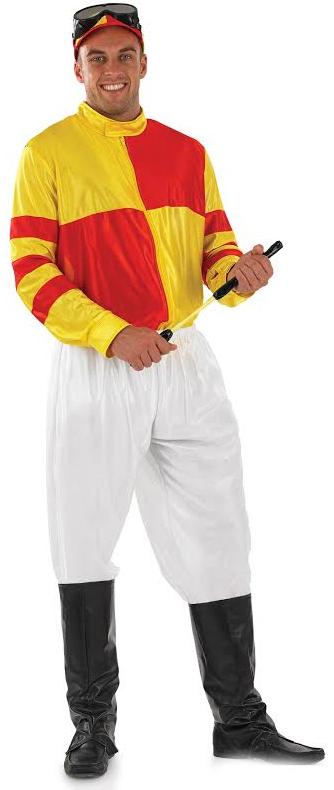 Jockey Mens Costume + Hat Horse Racing Adult Sports Celebrity Fancy Dress Outfit   eBay