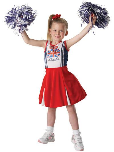 Girl's Patriotic Cheerleader Union Jack Costume