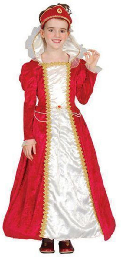 Girls Tudor Princess Red Costume