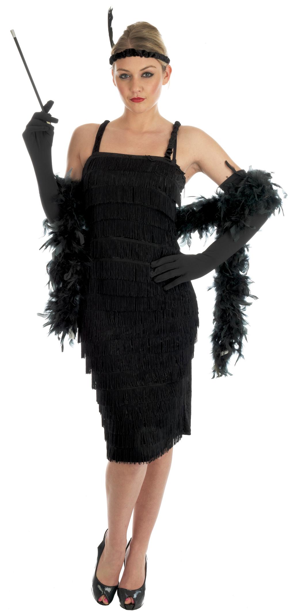 Black dress up gloves - 1920s Fringe Flapper Fancy Dress Charleston Ladies 20s