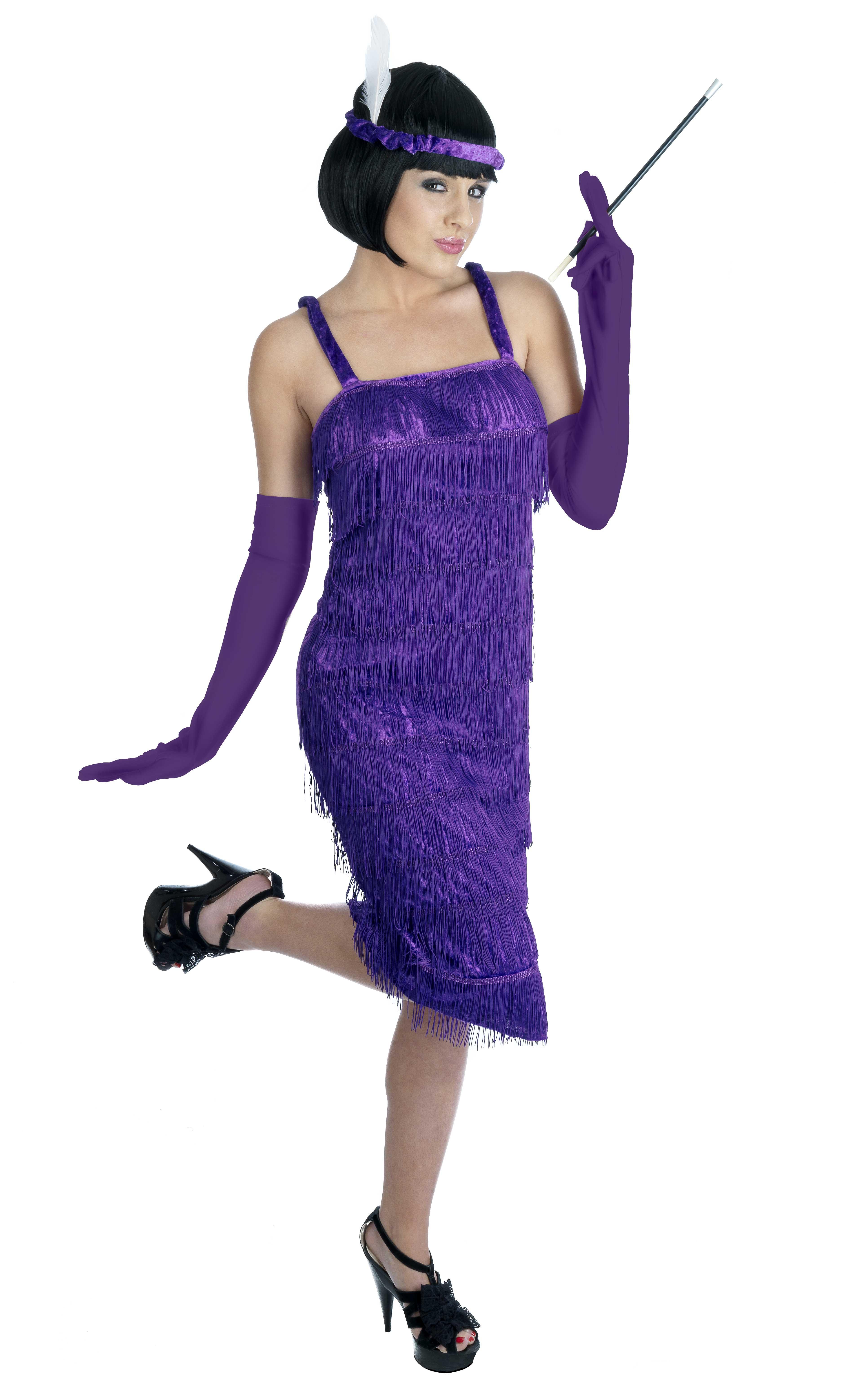 bbfce97cd Carnevale Donna Charleston Anni 20 con Frange e Guanti Taglia 34 54