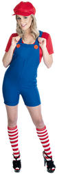 View Item Ladies' Red Plumbers 80s Fancy Dress Costume