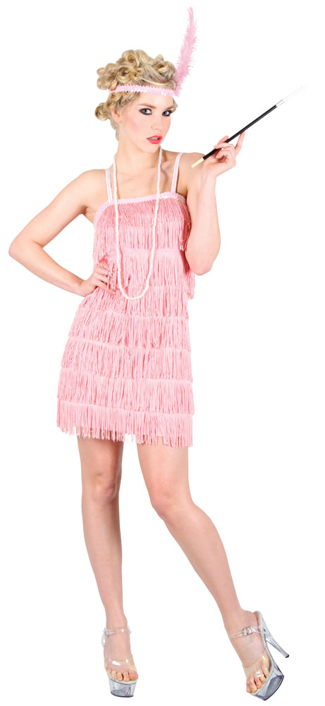 Pink Charleston Flapper XL UK 22-24 Ladies 1920s Fancy Dress Plus Size Costume