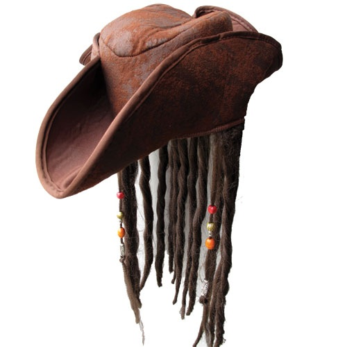 Caribbean Pirate Hat & Attached Wig Mens Fancy Dress Costume Adult Accessory