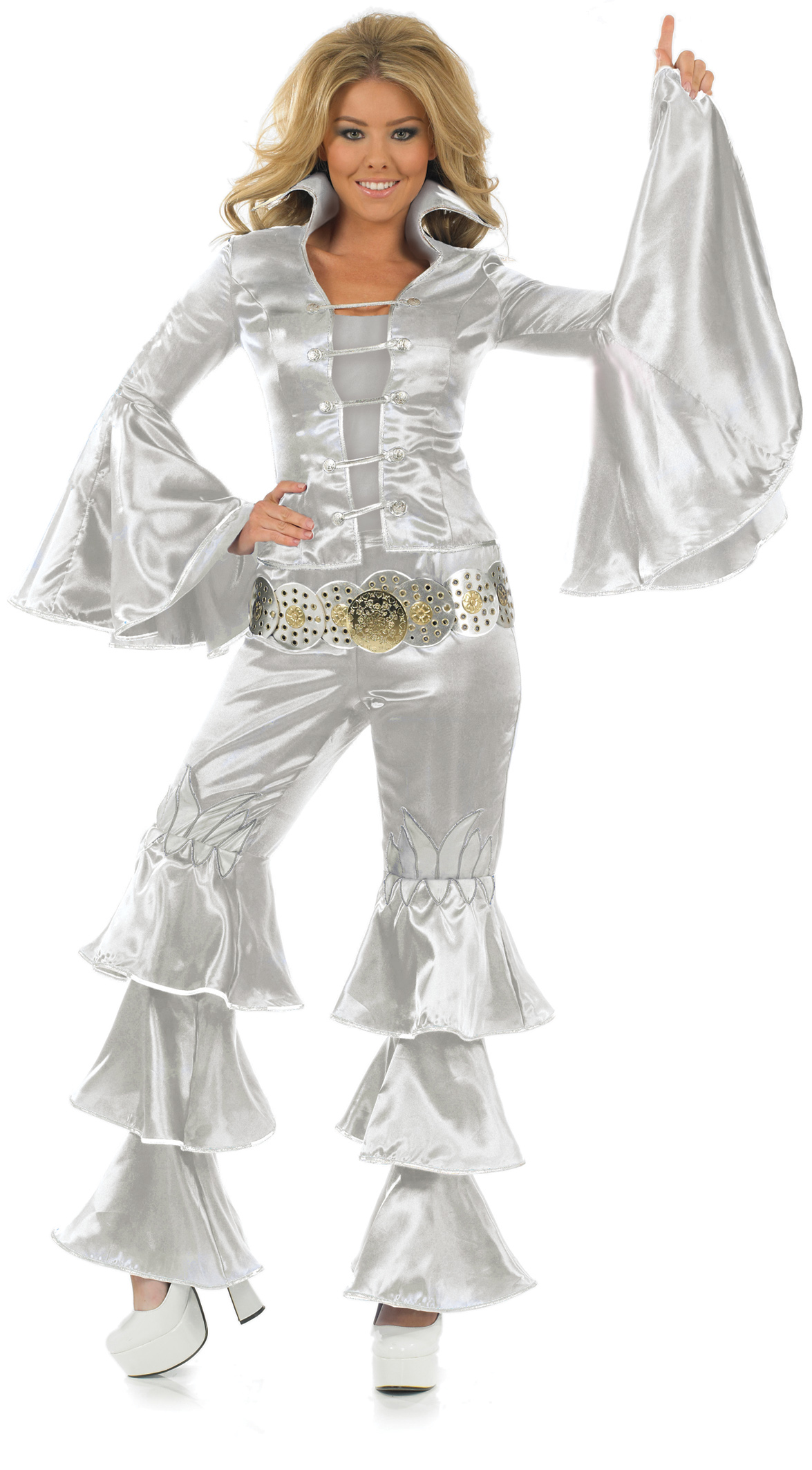 Silver Dancing Queen 70s Fancy Dress Ladies Costume 1970s ...