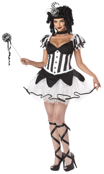 Harlequin-Jester-Ladies-Kings-Delight-Black-White-Halloween-Fancy-Dress-Costume