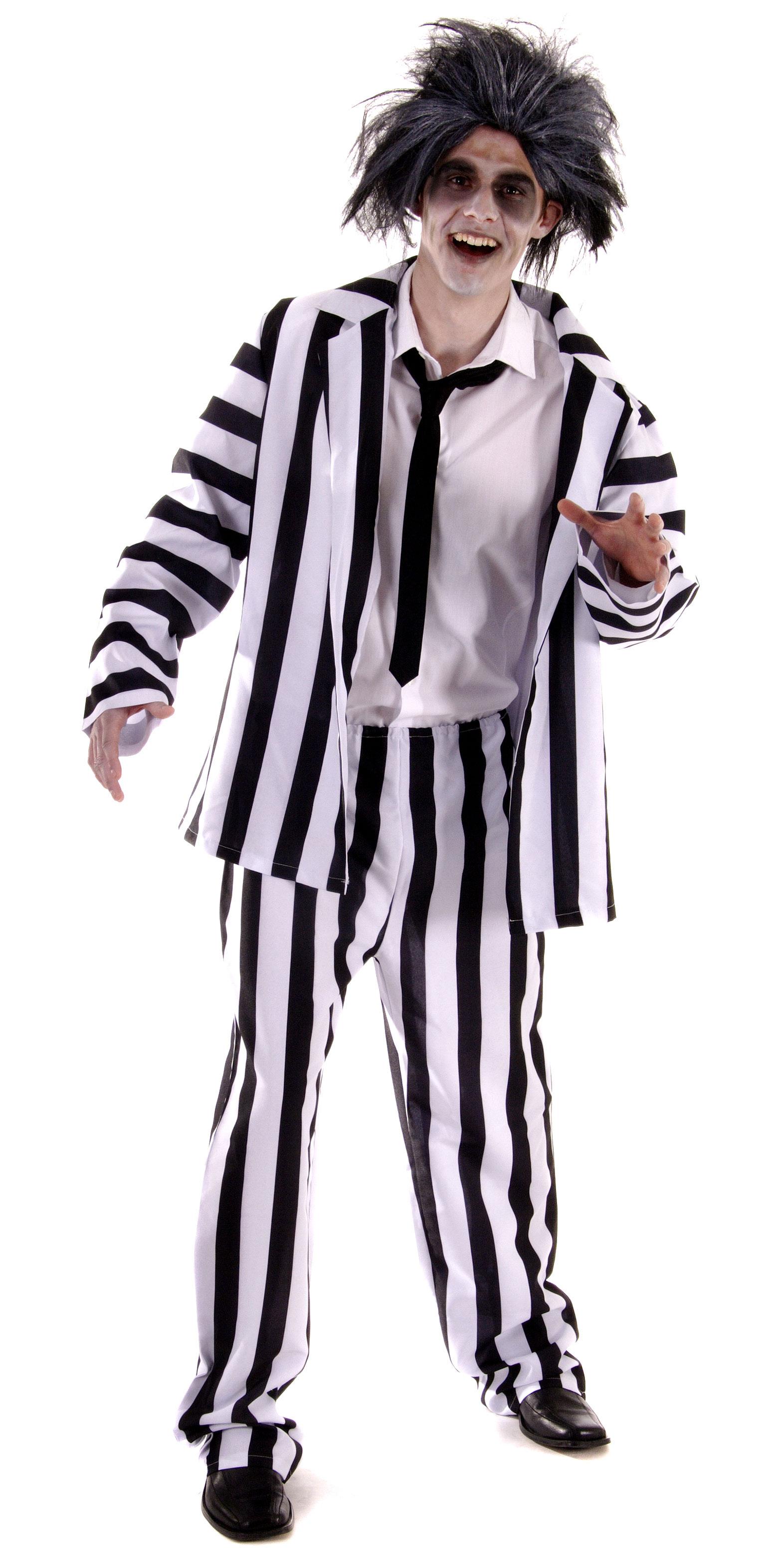 Crazy Ghost Mens Fancy Dress Movie Halloween Black & White Striped ...