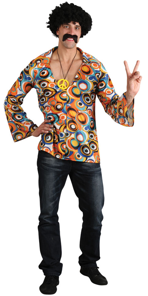 1960s Hippie Shirt Mens Fancy Dress 60s Groovy Retro Hippy Adults Costume Outfit | EBay
