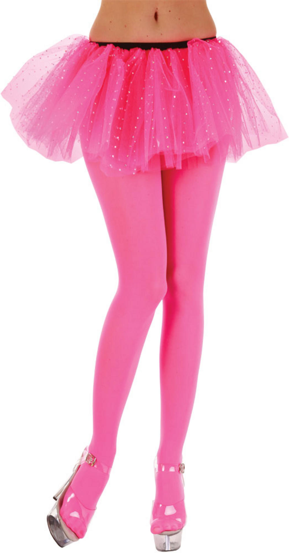 Opaque Neon Pink Tights | 80s Accessories