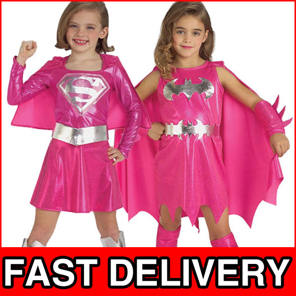 Image is loading Pink-Batgirl-Supergirl-Girls-Superhero-Fancy-Dress-Kids-  sc 1 st  eBay & Pink Batgirl Supergirl Girls Superhero Fancy Dress Kids Halloween ...