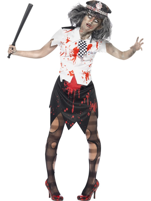 Zombie Police + Blood Adults Fancy Dress Halloween Mens Ladies ...