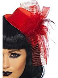 View Item Red Fascinator Hat with Veil and Flower