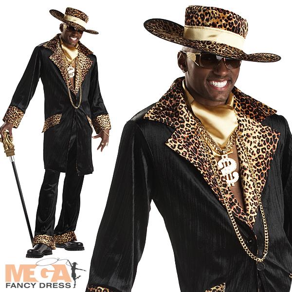 Supa Mac Daddy Leopard Pimp Mens 1970s Fancy Dress Party 70s ... 01974d716df