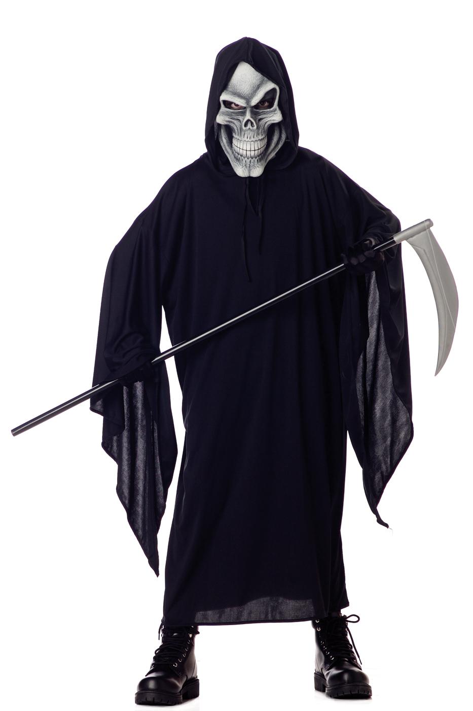 Grim Reaper Boys Halloween Fancy Dress Costume + Skeleton Skull ...