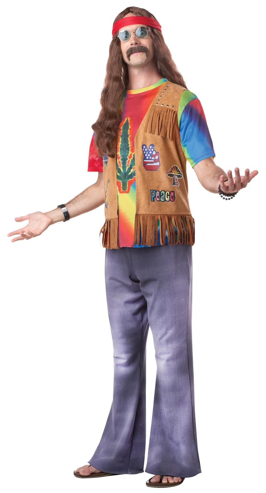Deluxe Mens Hippie Fancy Dress Funky Hippy Adult 1960s ...
