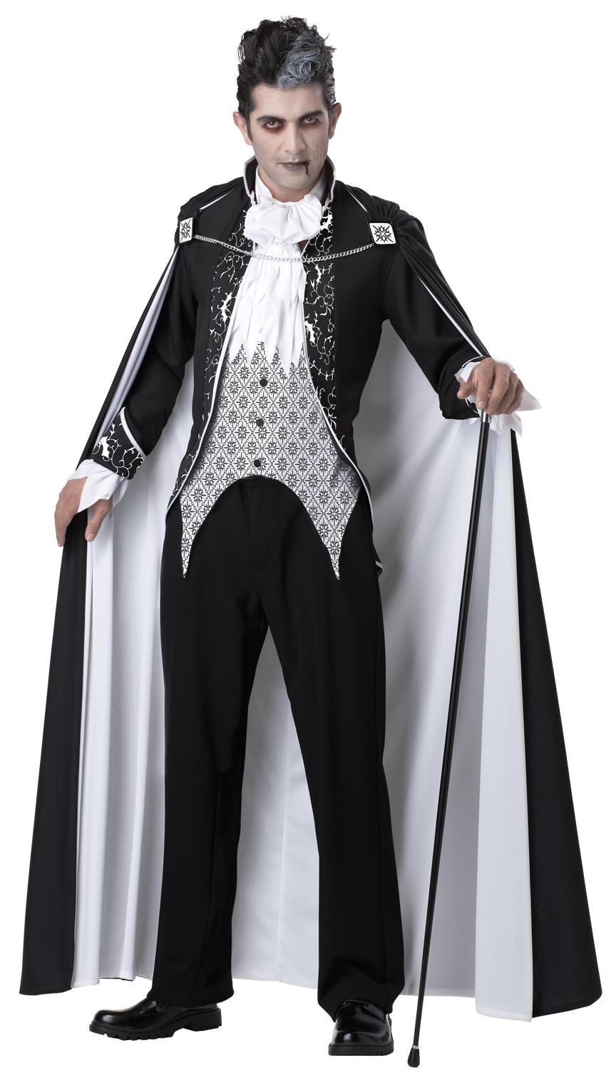 deluxe mens royal gothic vampire halloween fancy dress black white adult costume ebay. Black Bedroom Furniture Sets. Home Design Ideas