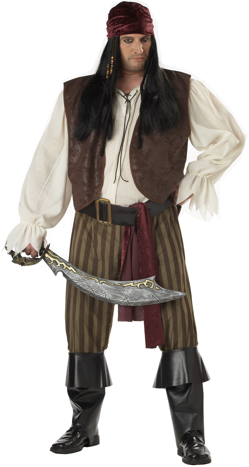 "Deluxe Rogue Pirate Mens Plus Size XXL 48-52"" Halloween ..."