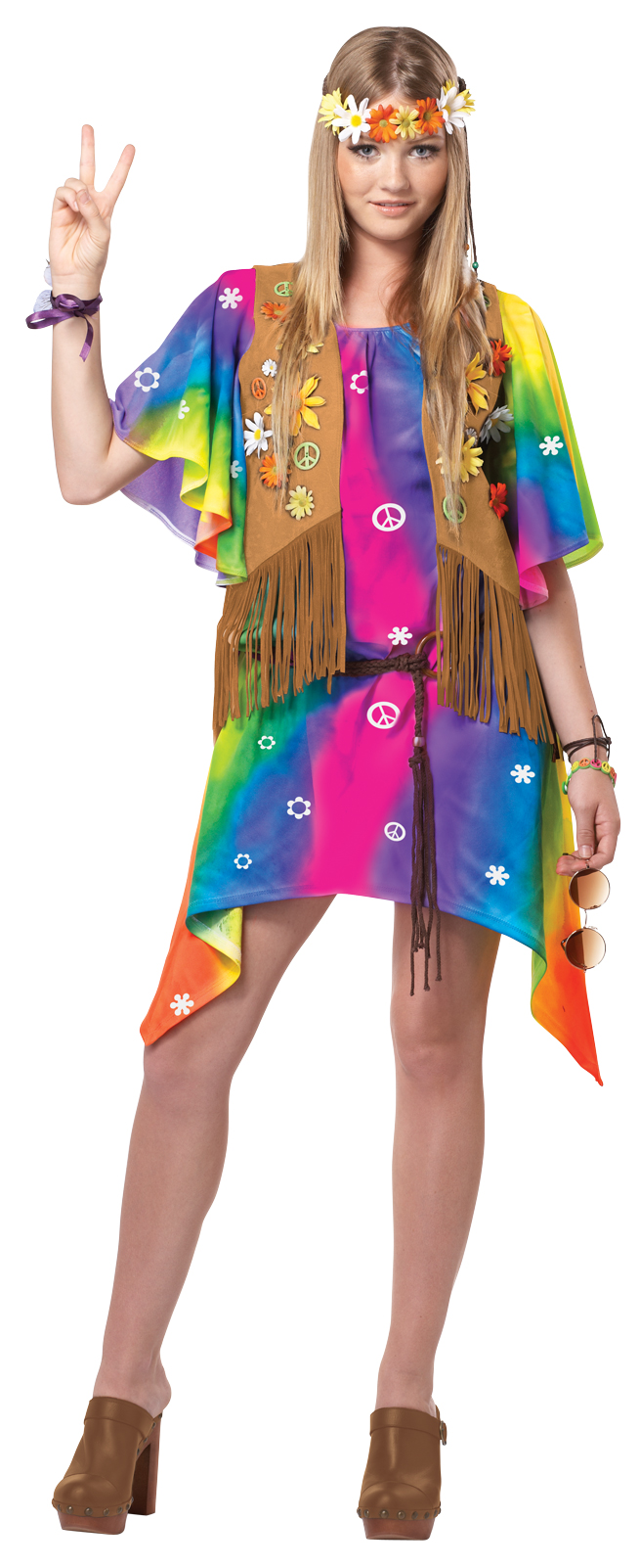 Girls Deluxe Teen Groovy Hippy Girl 1960s 1970s Fancy ...