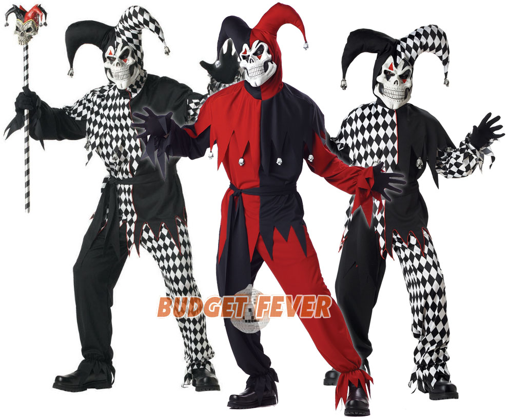 Deluxe Scary Jester Halloween Medieval Mens Boys Kids Adult Fancy Dress Costume