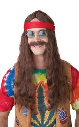Hippie Man Brown Wig and Moustache Set