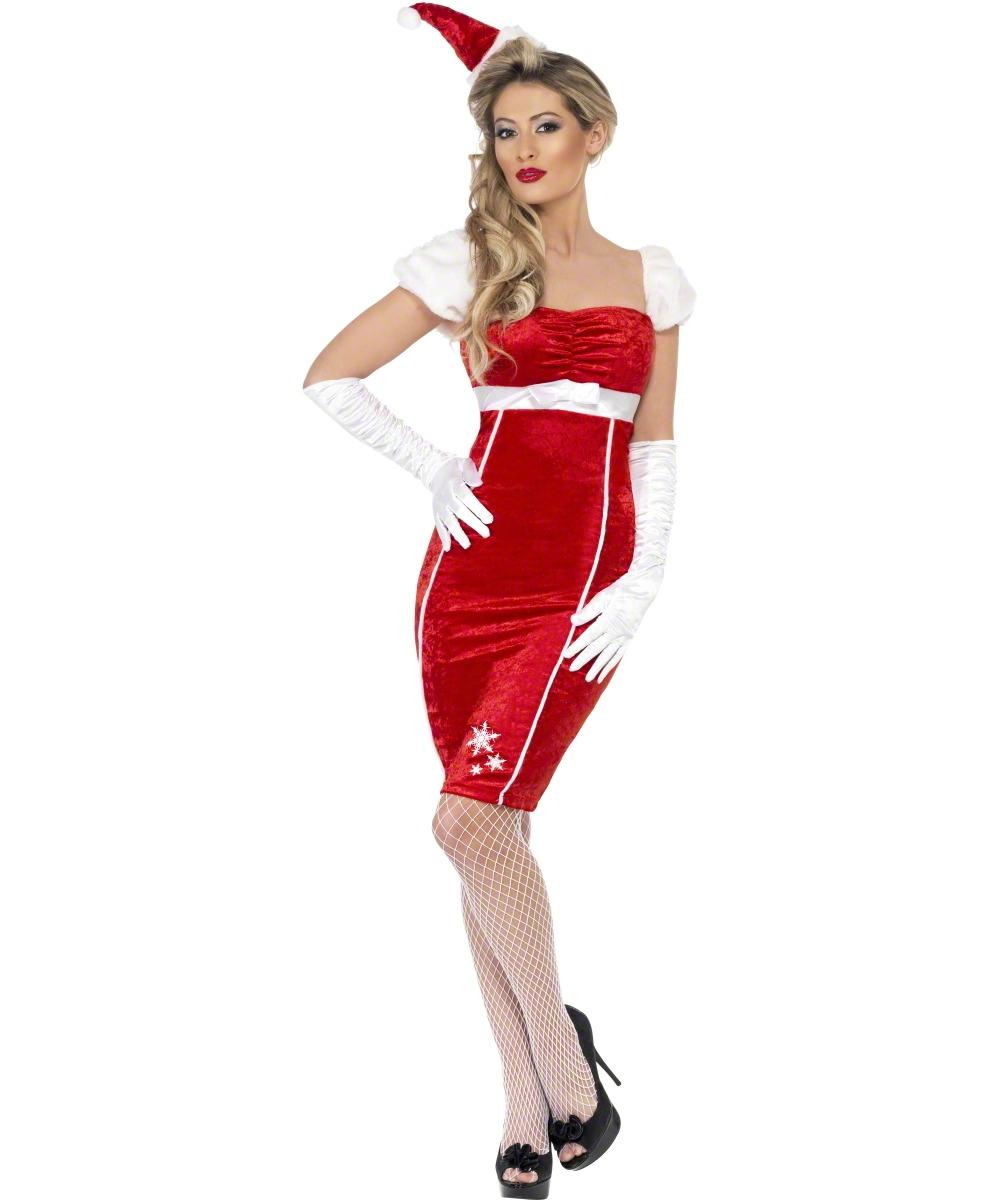 Sexy pin up miss santa ladies christmas mrs ms santa claus fancy dress
