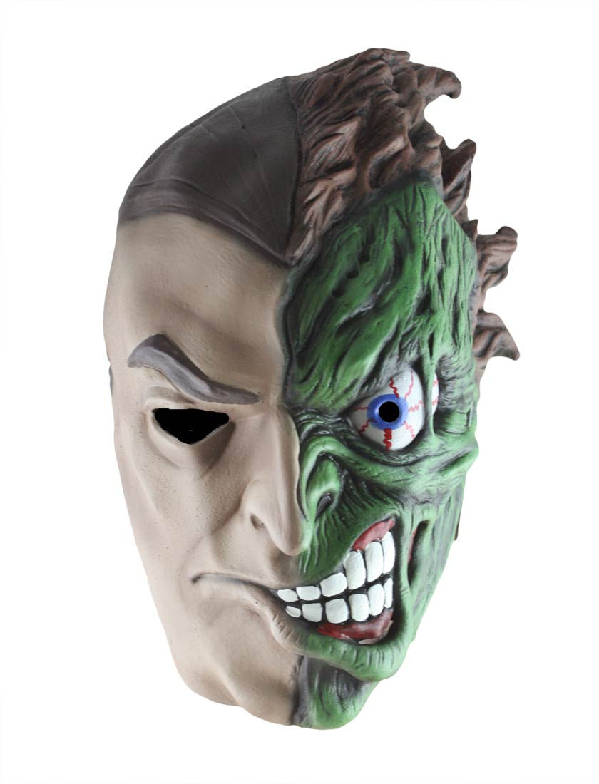 Deluxe Two Face Batman Mask Fancy Dress Batman Super Villian ...
