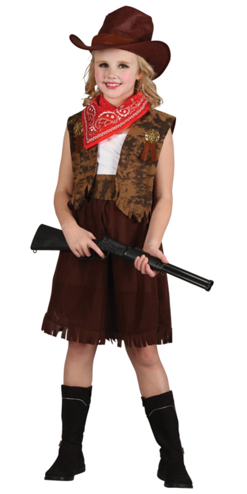 Cowgirl Girls Western Fancy Dress Kids Costume   Cowboy Hat Outfit ...